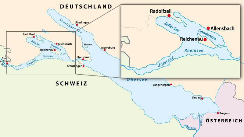 Karte vom Bodensee mit einem Detail des Untersees