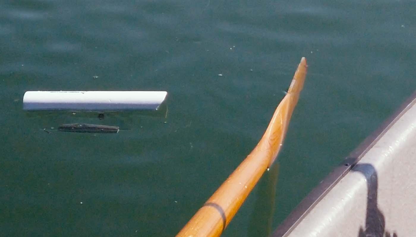 Bild eines Sideplanners neben einem Ruderriemen im Wasser